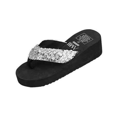 Women's Glitter Platform Sandals Shiny Thong Sandals Non-slip Wedge Heel Flip Flops Size 38 - Glitter Wedge Sandals