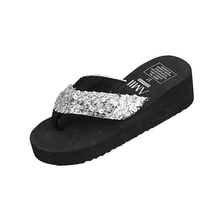 Women's Glitter Platform Sandals Shiny Thong Sandals Non-slip Wedge Heel Flip Flops Size 38