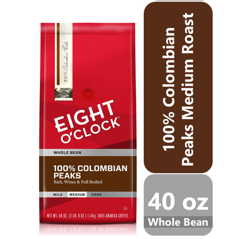 Halloween Wars 2020 10-5-18 Eight O'Clock 100% Colombian Peaks Medium Whole Bean Coffee, 40 oz