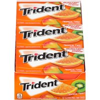 Trident, Sugar Free Tropical Twist Chewing Gum, 14 Pcs, 12 Ct