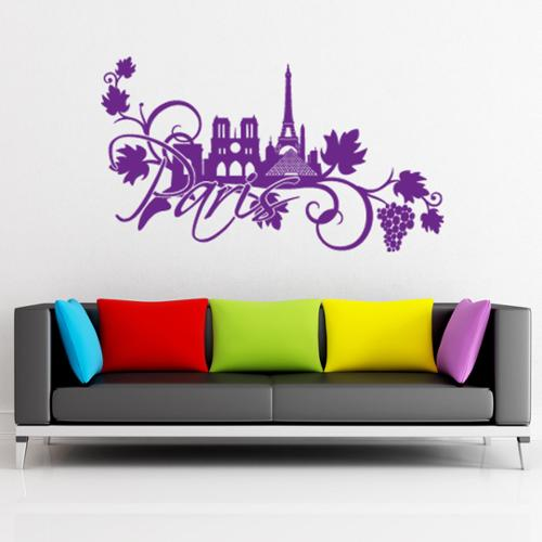 Style and Apply Paris Floral Vinyl Wall Decal and Sticker Mural Art Home Decor 24in x 13in Gold