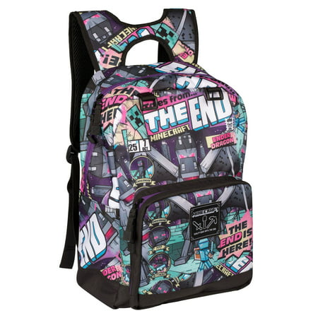 "JINX Minecraft Tales from the End Kids Backpack (Multi-Color, 17"") for School, Camping, Travel, Outdoors & Fun"