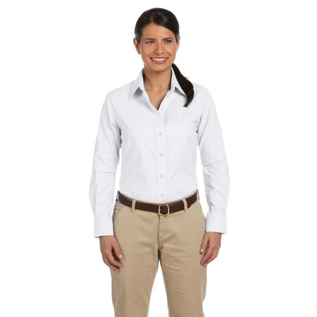 Branded Harriton Ladies Long Sleeve Oxford Shirt with Stain-Release - WHITE - L (Instant Saving 5% & more on min 2)