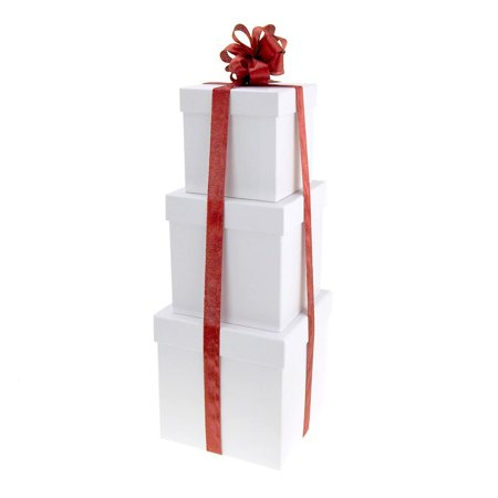 Holiday White Square Nested Gift Boxes, 5, 6 and 7-Inch, 3-Piece ()