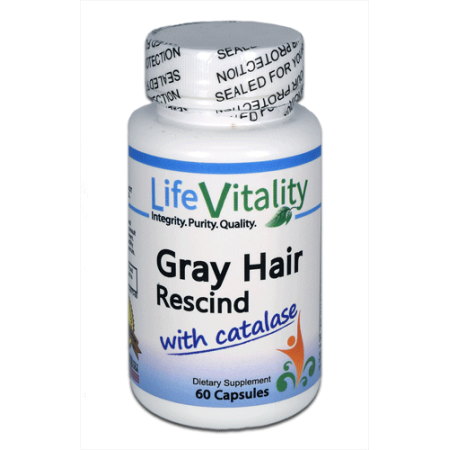 Life Vitality Gray Hair Rescind with Catalase, 60 (Best Ayurvedic Medicine For Grey Hair)