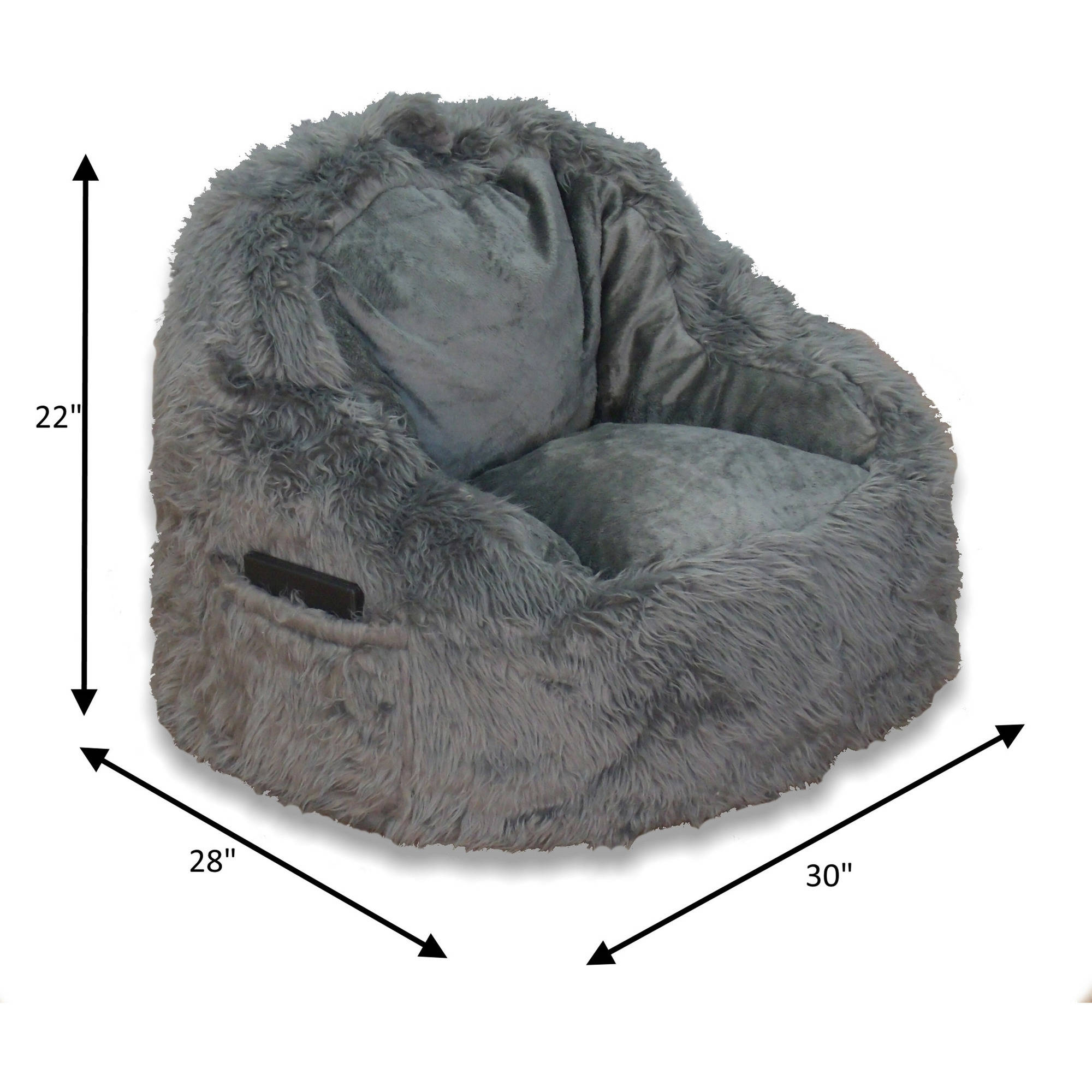 Structured Tablet Fur Bean Bag Chair Available in Multiple Colors