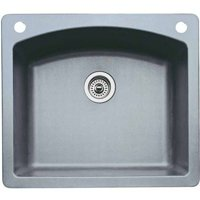 """Blanco 441280-2 Diamond 22"""" X 25"""" Single-Basin Granite Drop-In Or Undermount 2-Hole Residential Kitchen Sink, Available in Various Colors"""