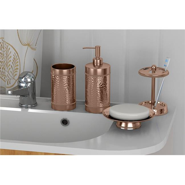 NuSteel HSC-3456-SET4 Soap Dish  Tooth Brush Holder  Tumbler & Lotion Pump Copper Hammered Set  4 Piece