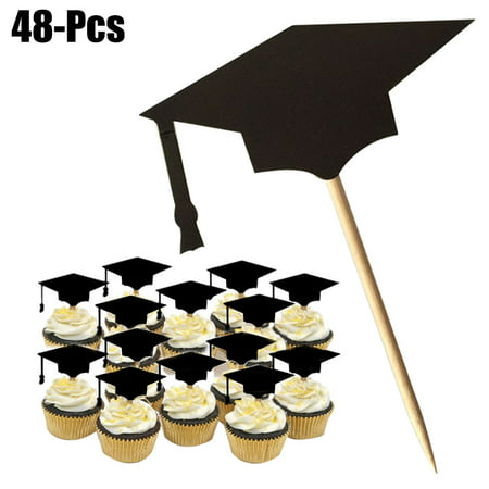 Outgeek 48Pcs Cake Topper Creative Graduation Cap Cupcake Topper Party Cake Topper with Toothpicks and Glues Graduation Party Supplies Decorations, Black - Tiara Cupcake Toppers