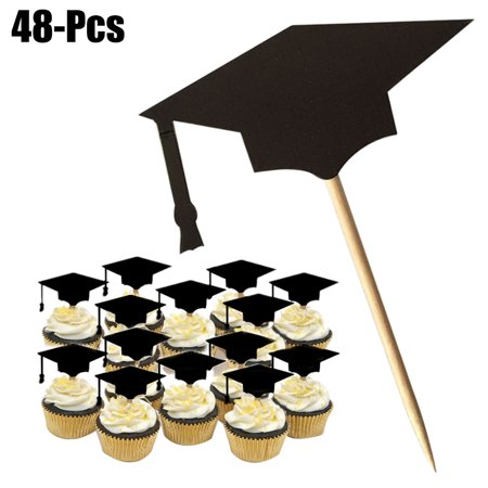 Outgeek 48Pcs Cake Topper Creative Graduation Cap Cupcake Topper Party Cake Topper with Toothpicks and Glues Graduation Party Supplies Decorations, Black