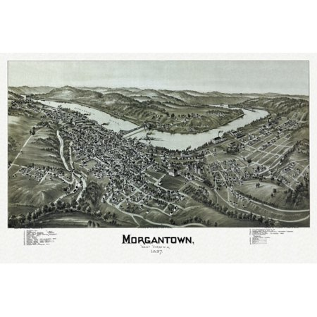 Antique Map of Morgantown West Virginia 1897 Monongalia County Canvas Art - (36 x 54)