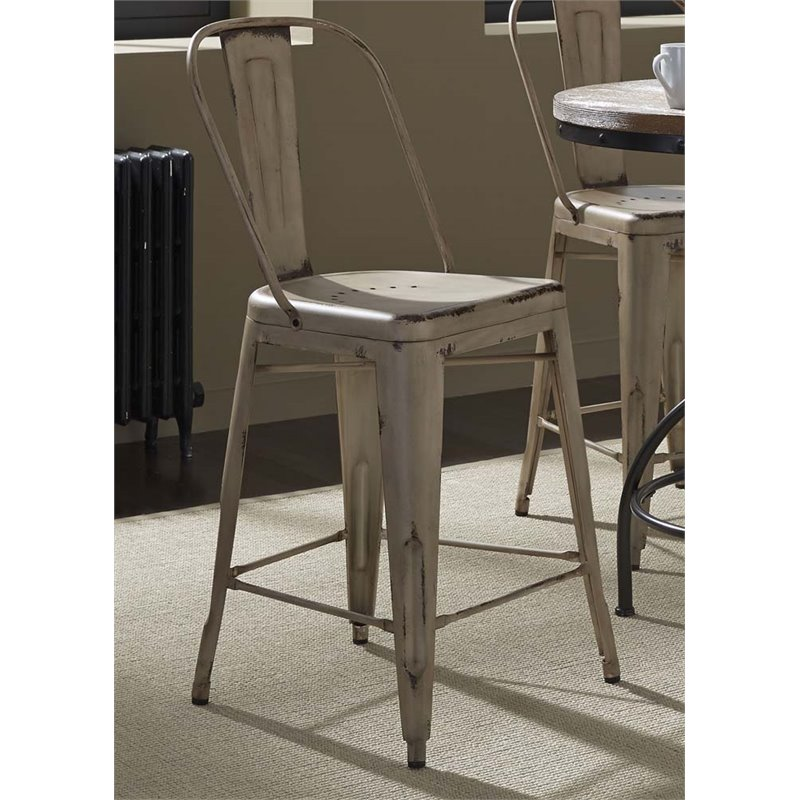 """Liberty Furniture Vintage 24"""" Metal Bow Back Counter Stool in White - image 2 de 2"""