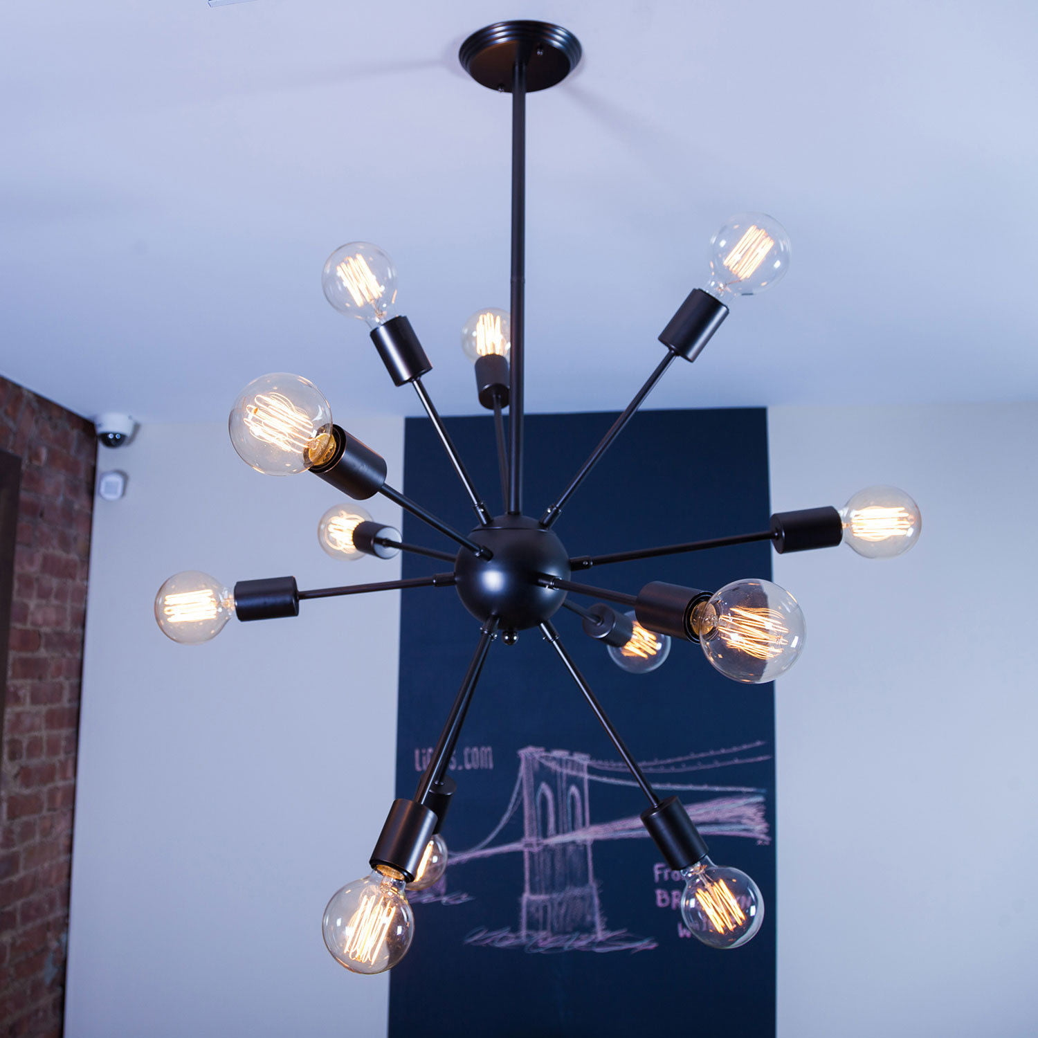 Adjustable 12 Light Black Sputnik Chandelier Modern Satellite
