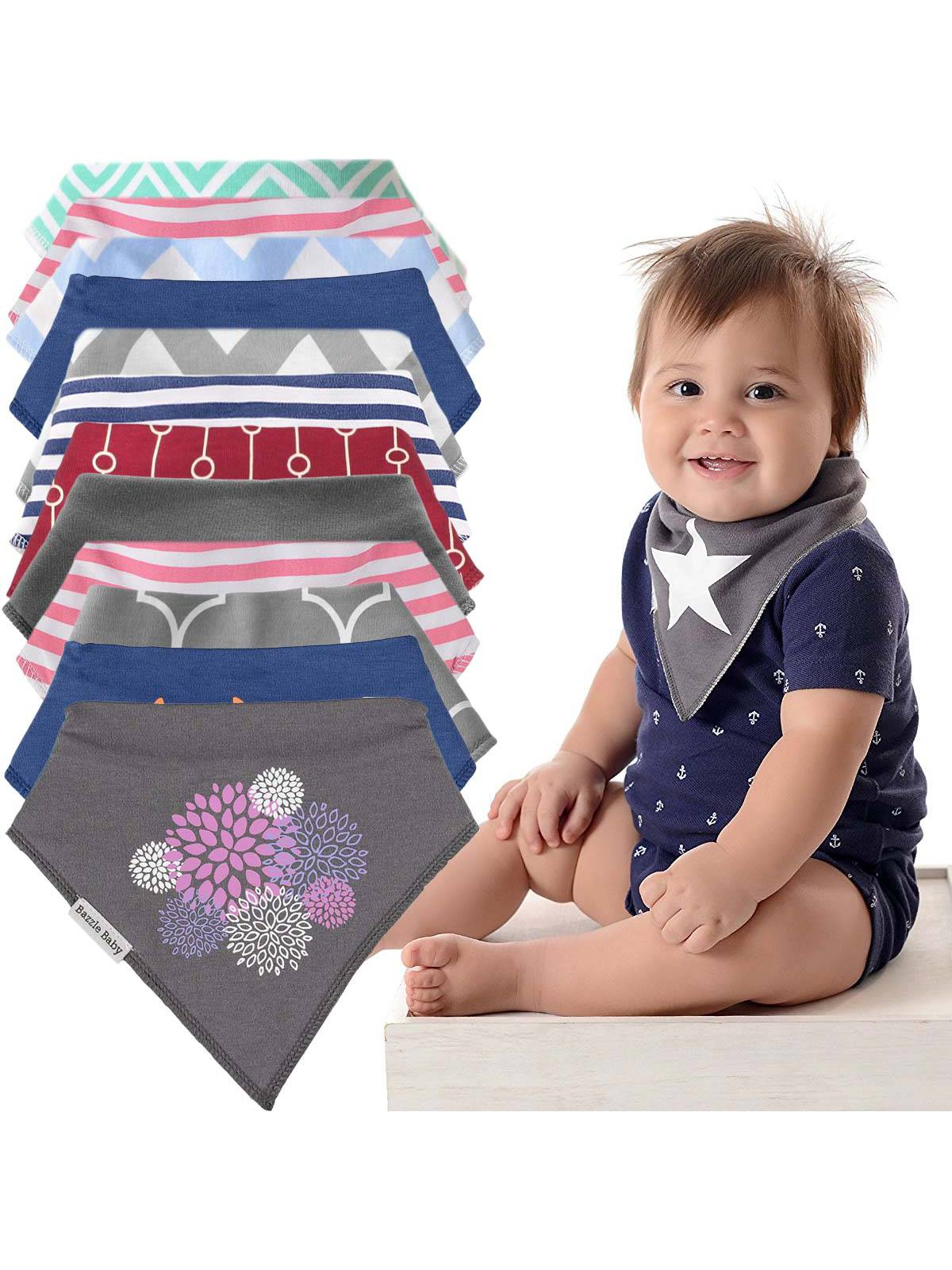 Bazzle Baby (12 Pack) Baby Bandana Drool Bibs Unisex Gift Set For Boys & Girls Infants Newborns by Bazzle Baby