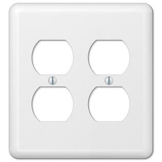 White Metal Double Duplex Outlet Switch Wall Plate Cover Enamel Finish Double Power Outlet Cover