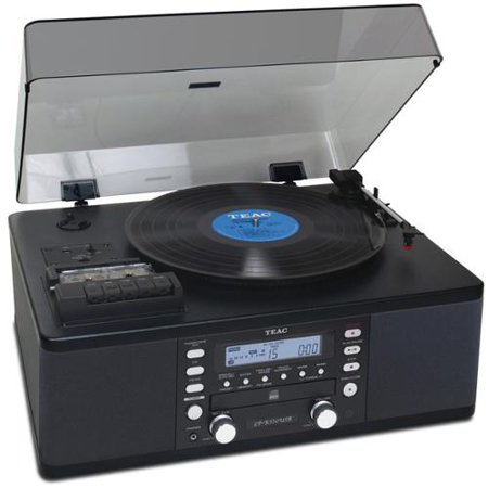 TEAC LP-R550USB Turntable, CD & Cassette Audio Dubbing System w  Remote Black [Refurbished] by