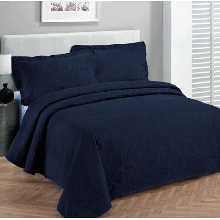 Fancy collection 3pc Bed Spread Embossed Bedsocover Solid Over size King / California king Navy Blue New ()
