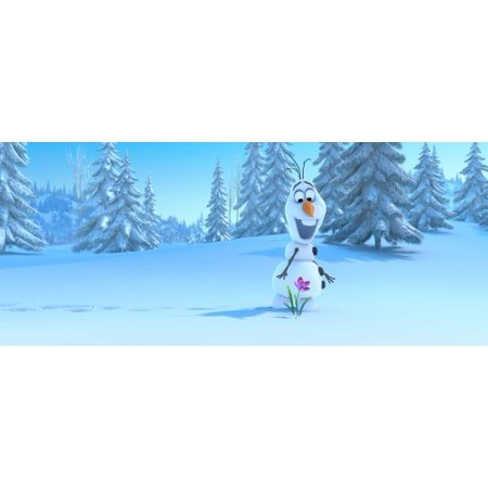 Frozen Olaf in Snow Tree Forest Edible Cake Topper Frosting 1/4 Sheet Birthday Party (Olaf Birthday Cake)