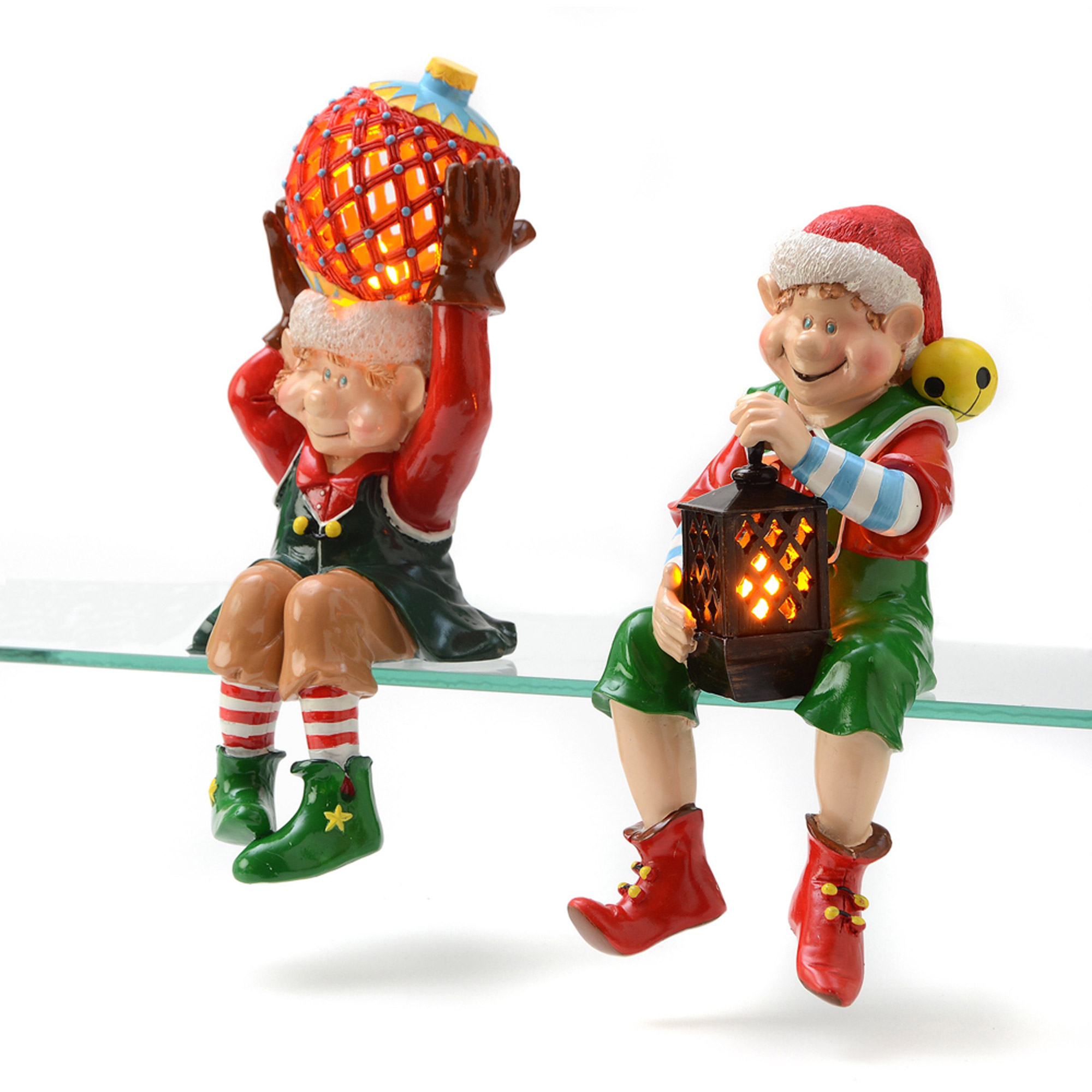 Sitting Elves Flameless Candles, Set of 2