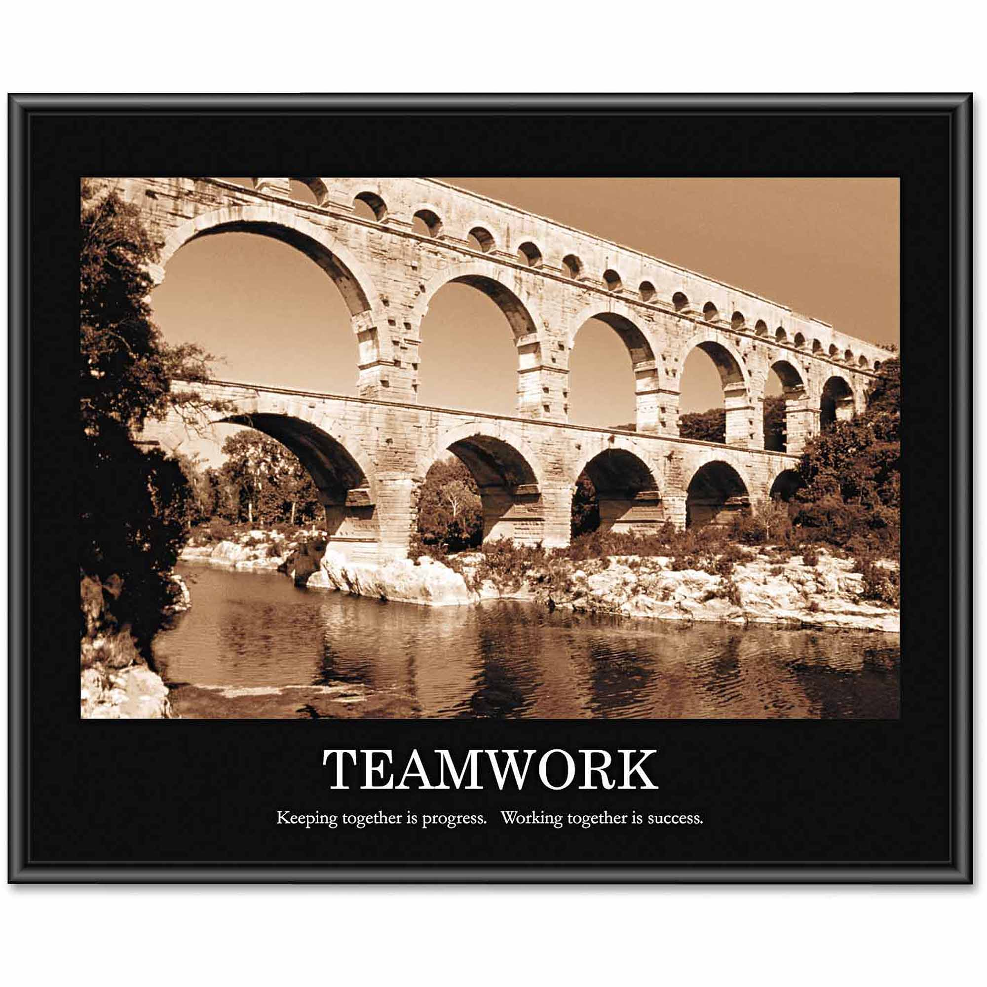 "Advantus ""Teamwork"" Framed Sepia-Tone Motivational Print, 30"" x 24"""