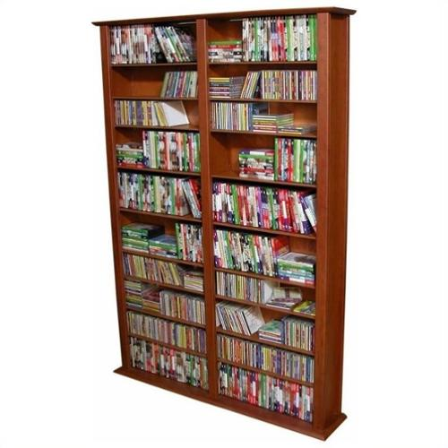 "Venture Horizon Double 76"" Tall CD DVD Wall Media Storage Rack-Oak"