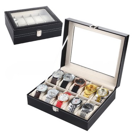 Watch Case for Men, Jewelry Storage Watch Display Box Organizer for Necklaces, Bracelets, Sunglasses, Premium Display Case With Glass Lid, 6/10/12/20/24 Pillow Slots, Gift for Birthday, Black, W3376 Necklace Present Gift Box Case