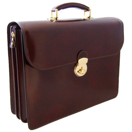 Pratesi Mens Italian Leather Verrocchio PC Laptop Flapover Radica Triple Compartment Briefcase In Cow Leather