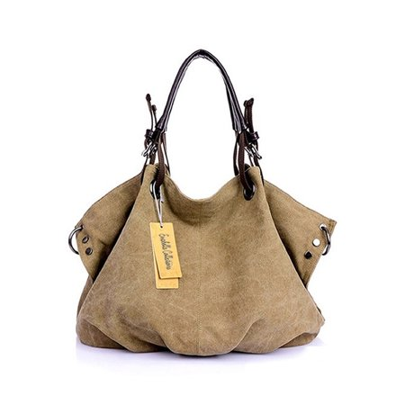 Washed Canvas Slouch Satchel With Vegan Leather, Multiple Colors