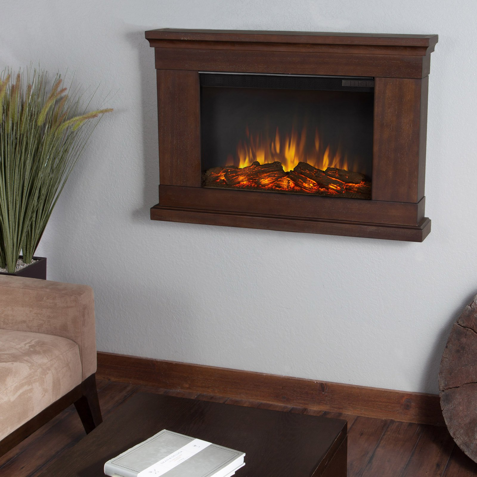 Real Flame Jackson Slim Line Wall Hung Electric Fireplace - Vintage Black Maple