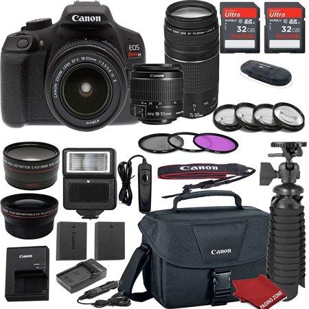 Canon EOS Rebel T6 DSLR Camera Bundle with Canon EF-S 18-55mm f/3.5-5.6 IS II Lens + EF 75-300mm f/4-5.6 III Lens + 2pc Sandisk 32gb Memory + Spare Canon Battery + Value Accessory Kit Accessory Kit Value Bundle