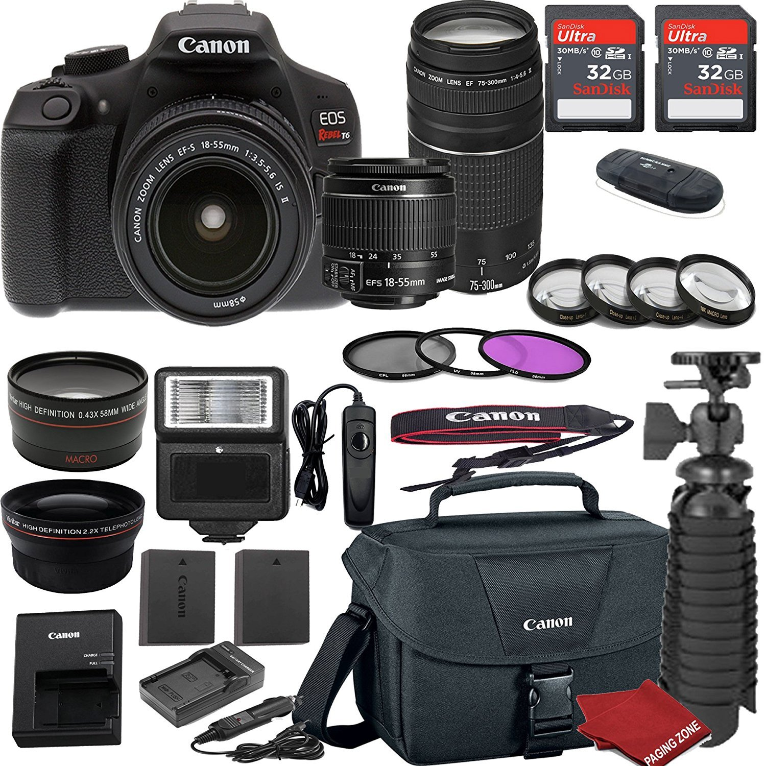 Canon EOS Rebel T6 DSLR Camera Bundle with Canon EF-S 18-55mm f/3.5-5.6 IS II Lens + EF 75-300mm f/4-5.6 III Lens + 2pc Sandisk 32gb Memory + Spare Canon Battery + Value Accessory Kit