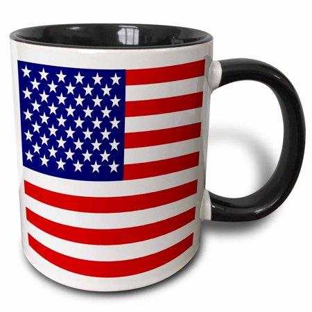 3dRose American Flag - Patriotic USA stars and stripes red white and blue - 4th July America Patriot, Two Tone Black Mug, 11oz