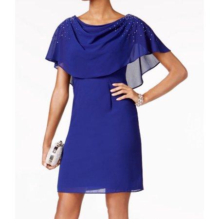 Jessica Howard NEW Blue Womens Size 6 Embellished Capelet Shift Dress