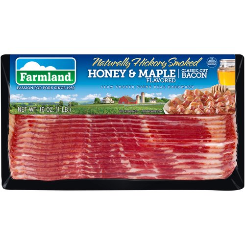 Farmland Naturally Hickory Smoked Honey & Maple Flavored Classic Cut Bacon, 16 oz