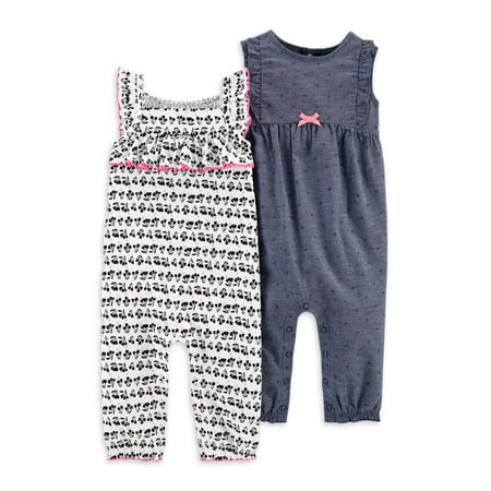Child of Mine by Carter's Baby Girl Sleeveless Footless 1 Piece Jumpsuit, 2 Pack