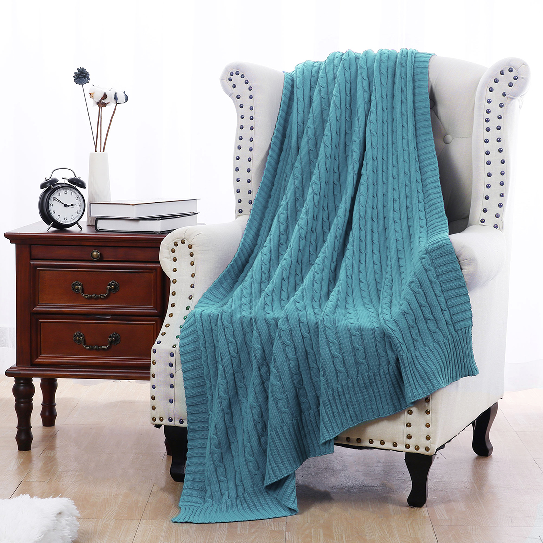 "Cotton Blanket Soft Warm Cable Knit Throw Home Bedding Blanket Teal Blue 50""x60"" - image 7 de 8"
