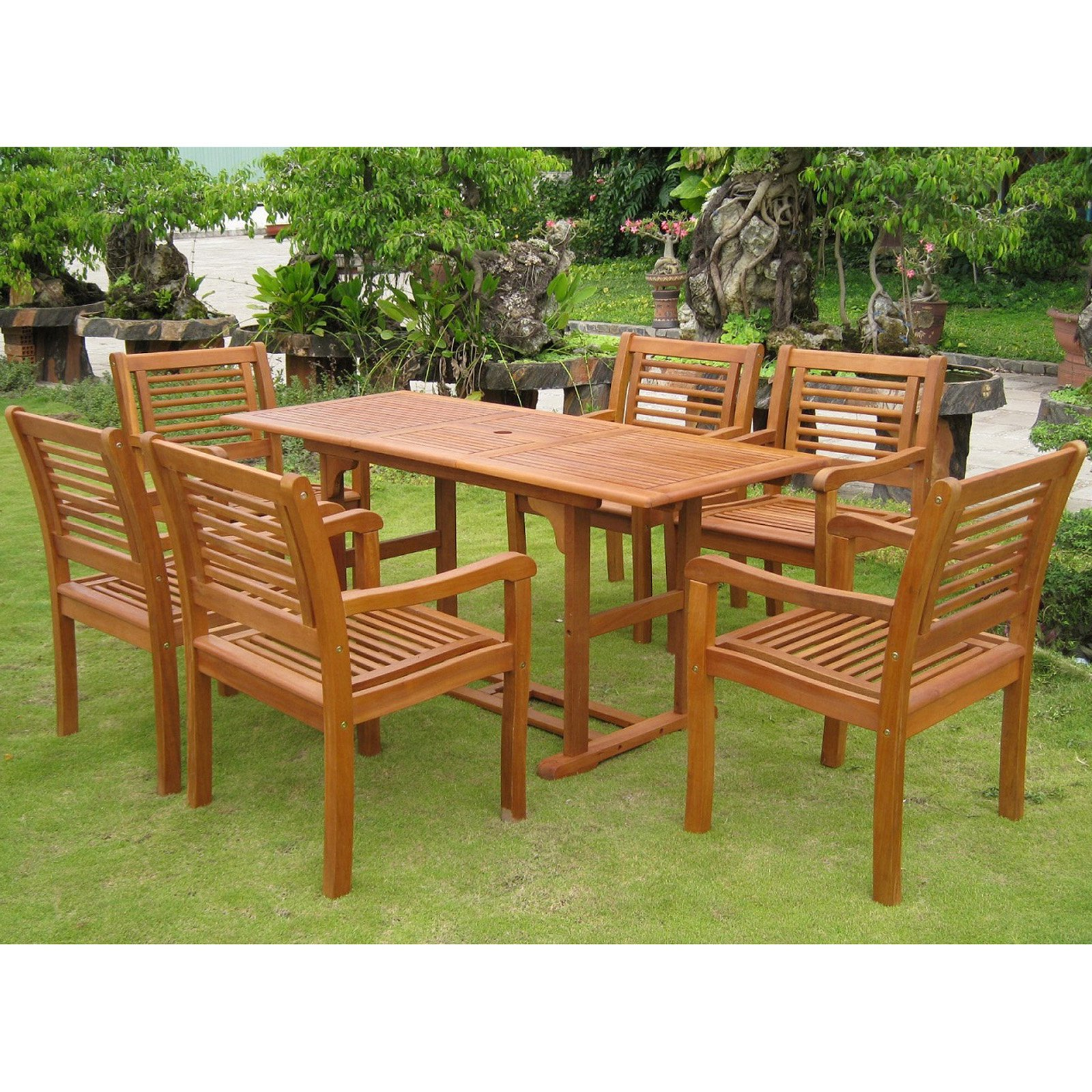International Caravan Royal Tahiti Cervera Balau Wood 7 Piece Patio Dining Set