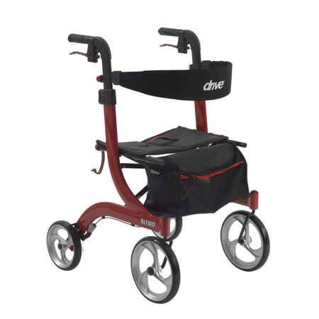 Cleveland Walker - Drive Medical Nitro Euro Style Rollator Rolling Walker, Red