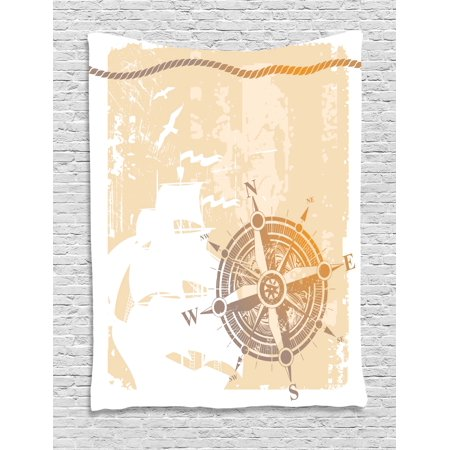 Compass Tapestry, Nautical Themed Compass Marine Life Inspired Windrose Ship Rope Background, Wall Hanging for Bedroom Living Room Dorm Decor, Sand Brown Marigold, by Ambesonne