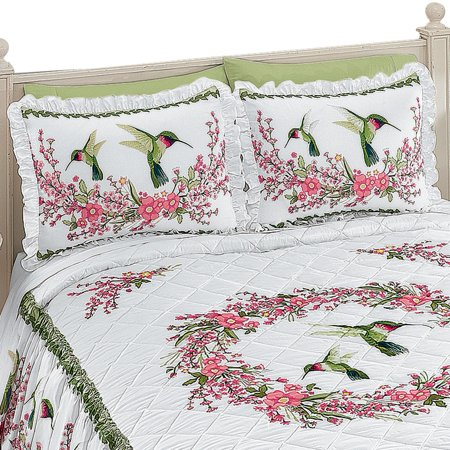 Beautiful Hummingbirds and Floral Wreath Ruffled Pillow (Beautiful Pillow)