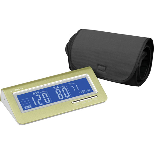 Brushed Aluminum Deluxe Arm Digital Blood Pressure Monitor, Green