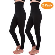 2-Pack High Waist Tummy Control Full Length Legging Compression Top Pants Fleece Lined