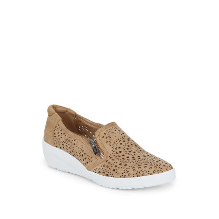 Yvette Laser-Cut Suede Demi Wedge Sneakers