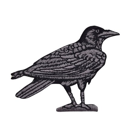 Raven/Crow - Black/Gray - Facing Right - Birds - Iron On Embroidered Applique Patch (T Birds Patch Grease)