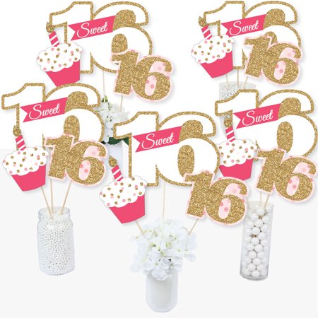 Sweet 16 - 16th Birthday - 16th Birthday Party Centerpiece Sticks - Table Toppers - Set of 15 - Sweet Sixteen Centerpieces And Decorations