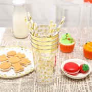 BalsaCircle 12 pcs 16 oz Gold Polka Dots Disposable Plastic Glasses - Disposable Wedding Party Event Catering Tableware Supplies