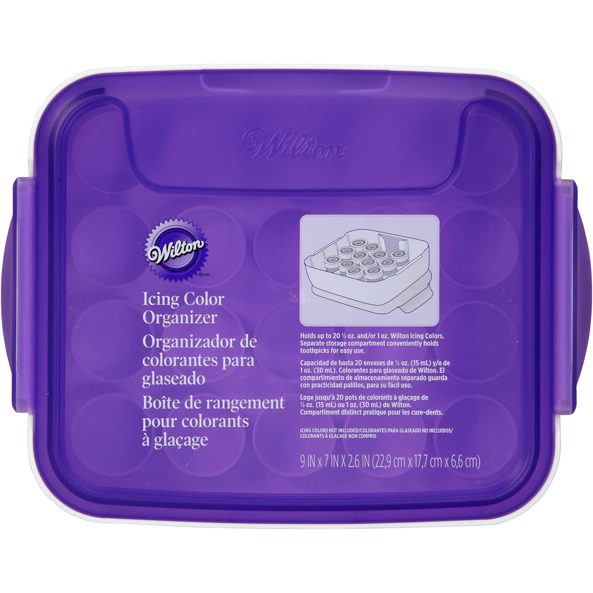 "Wilton 9""x7""x2.5"" Icing Color Organizer, White & Purple 405-8783"