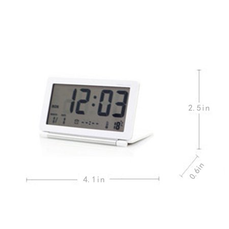 LED Ultrathin Mini Portable Travel Clamshell Digital Table Alarm Clock with Night Lamp Color:Black (Alarm Clock Ultra)