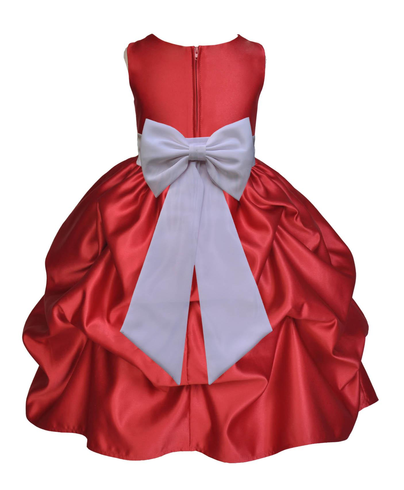 Ekidsbridal Satin Bubble Pick-up Apple Red Flower Girl Dress Christmas Weddings Summer Easter Dress Special Occasions Pageant Toddler Girl's Clothing Holiday Bridal Baptism 208T White size 6
