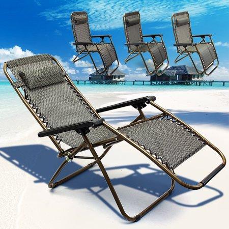 Reclining Sun Loungers Chair Backpack Anti Gravity Portable Foldable Garden Patio Recliner Relaxer Beach